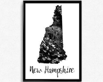 Map of New Hampshire, United States of America, Black and White Map, Travel, Watercolor, Room Decor, Poster, gift, Print, Wall Art (762)