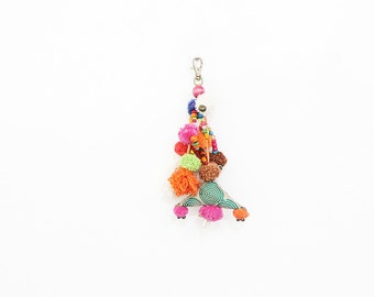Vintage Triangle Keychain With Pompoms Tassel