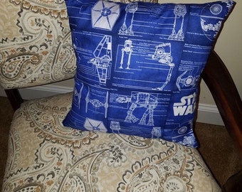 Star Wars Blueprint Empire - Death Star, ATAT, Imperial Shuttle, Tie Fighter) 16x16 Decorative Throw Pillow (with Insert)