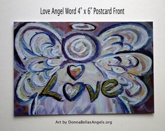 Love Word Pink Angel Inspirational Art Postcards (10 Pack)