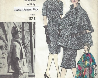 1960s Vintage VOGUE Sewing Pattern B34 DRESS & COAT (1749R) Simonetta of Italy