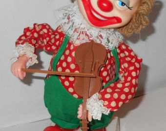 """Vintage Hong DA  Mr. Bob """"The Violinist"""" Battery Operated Clown ~music ~Dancing ,Toy"""