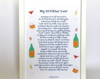 Funny drinking poem, poem about drinking, My Drinkies Year poem, drinking poem,  poem about drinks, drinking verse, drinking rhyme,