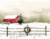 Original Watercolor Painting - Holiday Barn - Winter Scene - Wall Art