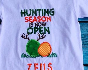 Boys and girls Hunting Season now open-- Boys Hunting Easter shirt or bodysuit-- Boys Easter Shirt -- Camo Easter Shirt