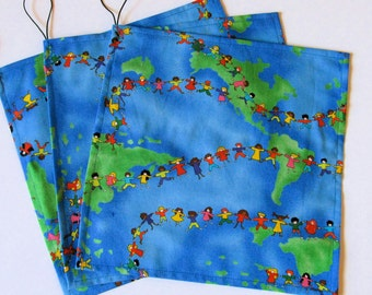 Kids Around the World - Reusable Sandwich Wraps/Bags - 100% Cotton
