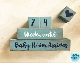 Custom Baby Countdown Blocks - Baby Blocks, Grandparents Countdown, Maternity Blocks