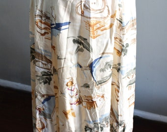 Vintage 80's Talbots Abstract Floral Print Women's Maxi Skirt Long Size 10