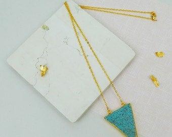 Turquoise Chevron Pendant Gold Necklace