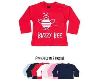 Buzzy bee shirt, longsleeve shirt, baby shirt, baby shower gift, bee birthday, busy bee shirt, animal shirt, funny baby shirt, cute bee tee