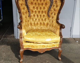 Gorgeous Vintage Carved Wood Yellow Chair - Antique Brocade Armchair and Button Tufting - Ready for Customization and Upholstery