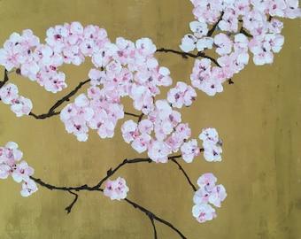"Original Oil Painting of Cherry Blossom, 11.8"" x 15.7"""