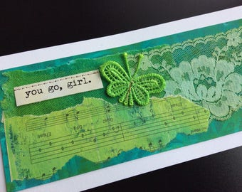 Handmade Art Card - You Go, Girl