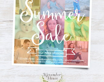 Summer Sale Photography Marketing Template, Instant Download Photoshop Template