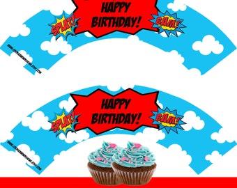 Superhero Cupcake Wrappers, Superhero Printable Cupcake Wrap, Superhero Cupcake birthday Decoration, Instant Download, DIY