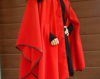 Red Cashmeere Coat/Red Cashmeere Poncho/Red sleeveles Jacket/Loose Poncho