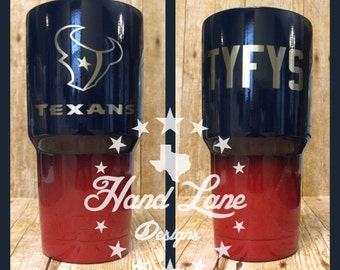 Custom Powder Coated Houston Texans YETI/RTIC/OZARK Tumbler 20oz or 30oz