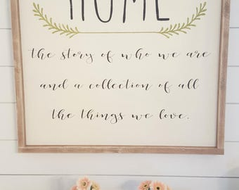Home the story of who we are Wood framed sign