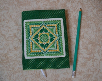 Handmade journal Custom notebook Emerald journal diary A6 notebook Embroidered Fabric journal cover Personal planner Bullet journal Green