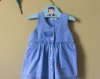 Girls vintage dress / blue denim summer dress / pinafore dress. Baby. 1990s denim. Butterfly. Age 2 years - age 3 years