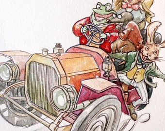 Wind in the Willow Original Watercolor painting 'Toad road',car watercolour,Toad,Rabbit,Rat,Mole,animal watercolour