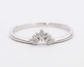 Diamond Baguette Round 14K Gold Wedding Band Crown Tiara Ring AD1251