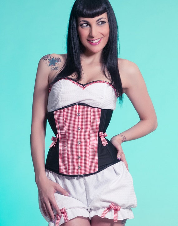 Red and black underbust corset Style Gingham Sample sale Rockabilly retro pin up girl Red gingham waisttraining corset Plaided waspie
