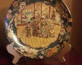Vintage Satsuma Made in China Plates Geisha Gold
