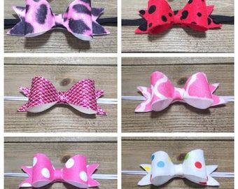 Baby Headband, Newborn Headband, Baby Bows, Baby Bow Headband, Hair Bows, Baby Headbands, Felt Bows, Polka Dot Bow, Pink Bow, Cheetah Bow