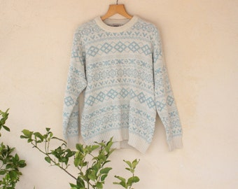 Light Blue And Cream Norwegian Style Jumper - Size Medium