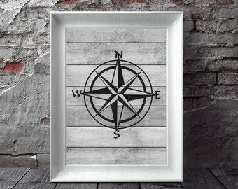 Compass Print, Nautical Compass, Compass Wall Art, Nautical Print, Nautical Decor, Beach Decor, Printable Art, Instant Download