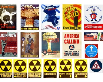 1:25 scale model Civil Defense Posters & Signs fallout