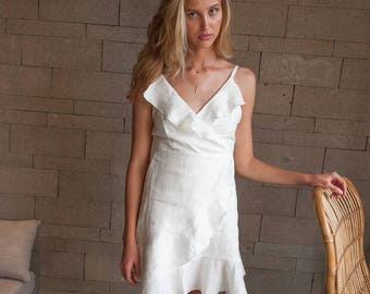 NEW! Modern Contemporary Summer French Linen Wrap Dress For Wedding   Bridesmaid   Summer Dress  Special Event