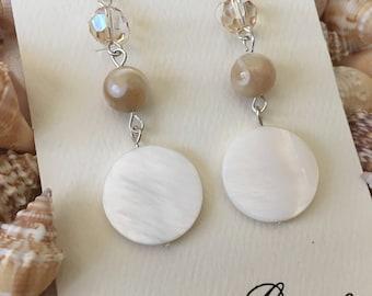 Shell and Swarovski Crystal Earrings