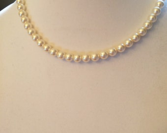 White Crystal Pearl Necklace White Pearl Necklace with Swarovski Pearls