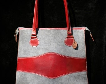 Two-Toned Tall Tote - Genuine Leather - Grey/Red - Handmade