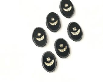 8 Vintage Encrusted Crescent Moon and Star Jet Black Glass Intaglio Cabochons 12 x 8mm