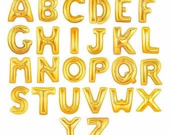 16in Metallic Gold Letter Balloons, Gold Mylar Letter Balloons, Small Letter Balloons, Air Filled Letter Balloons, Letter Balloons, Silver