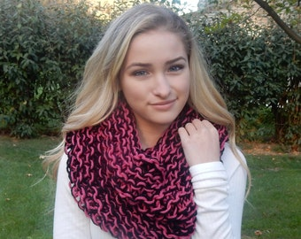 Pink and Black Wool Cowl