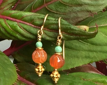 Carved Carnelian with Jade, Vermeil and Gold Fill
