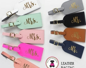 SET OF 2  Leather Luggage Tags - Mr. / Mrs. - Free Ship