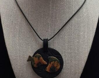 Abstract Sunflower Pendant, spade & moon