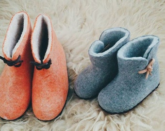 Felted pure wool slippers for kids