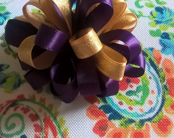 Purple and Gold Pom Pom on French Barrette