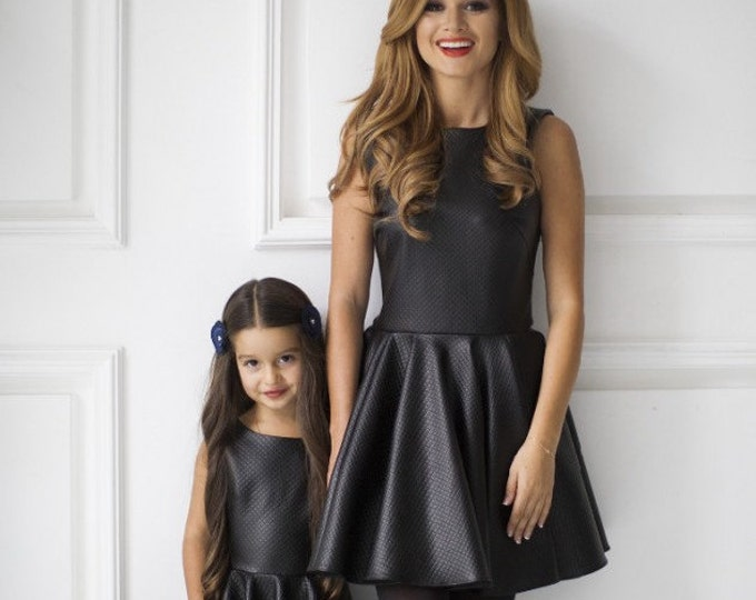 Mother Daughter matching Mommy and me little black dress of quilted jersey Mom Daughter matching mini dress Sleeveless fit and flare dress