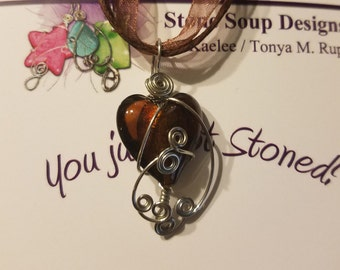Brown Heart Glass Pendant
