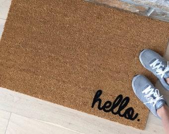 Hello Doormat, Hello Door Mat, Front Door Decor, Custom Doormat, Hello Mat, Welcome Mat, Cute Door Mat