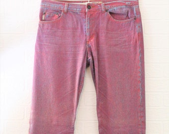 Guess Pink/Blue Cotton Jeans/Trousers/Size 32 inch waist/Retro Trousers/Vintage Trousers/1990s