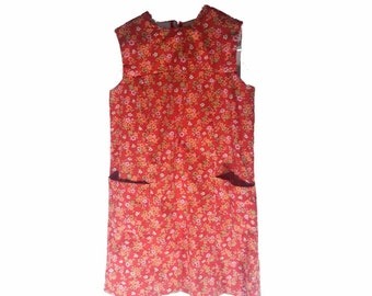 Vintage Dress - Casual Dress - Handmade Dress - 1970s Dresses - Floral Pattern Dress - Womens Clothing - Womens Dress - Red - Gift for Her