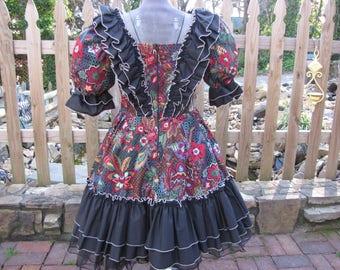 Black Floral Square Dancing Dress  Size 10